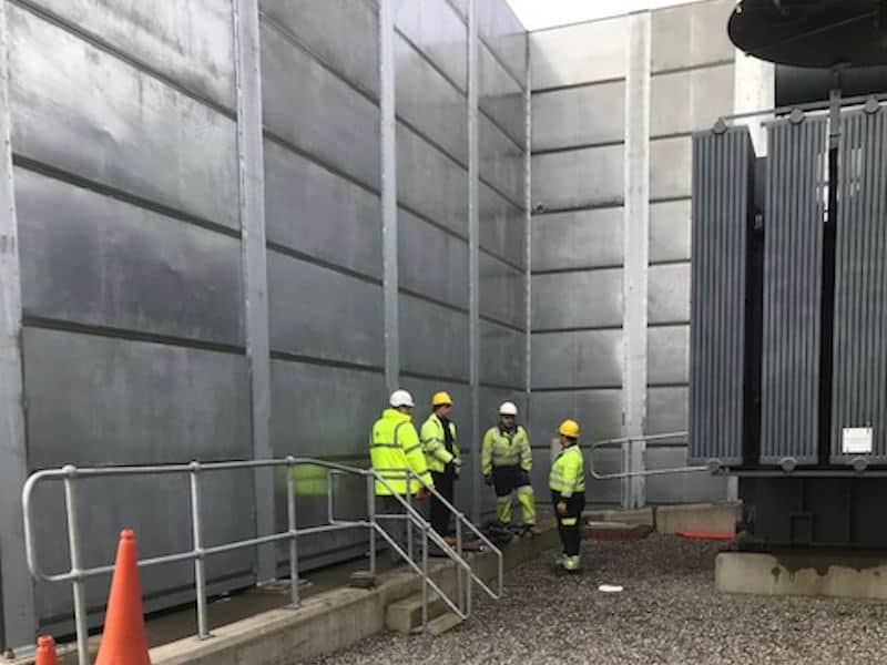 acoustic screen in a power generation plant